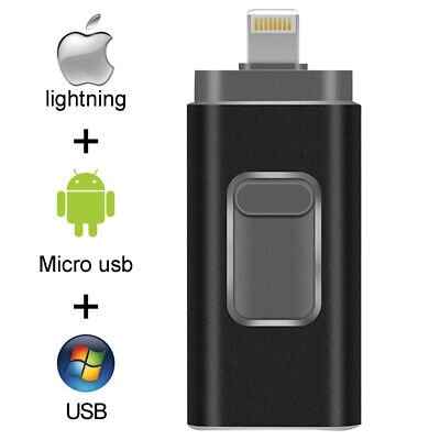£13.55 • Buy 3 IN 1 USB Flash Drive Disk Storage Memory Stick For IPhone 6 7 8 Plus X IPad PC