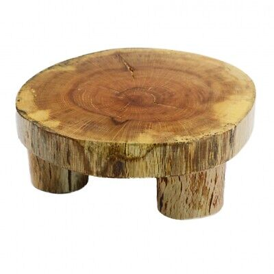 £13.99 • Buy Unique Rustic Wood Round Cake Stand Cheese Pastry Serving Board 10-16 Cm