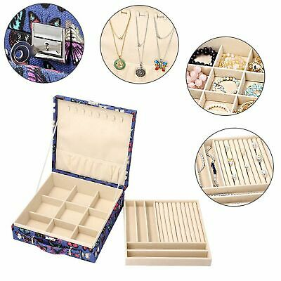 £16.89 • Buy Two-Tier Blue With Multi Colour Butterfly Jewellery Box With Anti-Tarnish Lining
