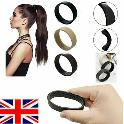 UK 3Colors Foldable One Wide Pony Band Clip Wide Pony Hair Band O Hair Tie Band • 3.58£