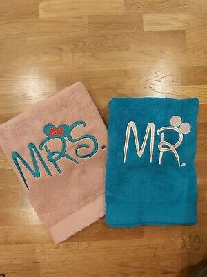 £24 • Buy Personalised Embroidery Towels - Mrs & Mr