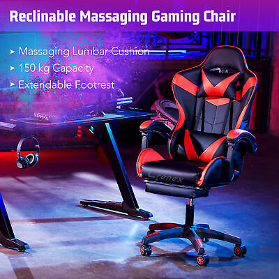 £79.99 • Buy Crenex Racing Reclining Desk Office Computer Gaming Massage Chair With Footrest