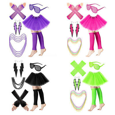 AU19.21 • Buy Ladies Tutu Skirt Fishnet Gloves Leg Warmers Necklace For Women 80s Theme Party
