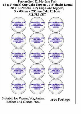 £8.70 • Buy 15 X 2  ANY FOOTBALL CLUB LOGO PERSONALISED EDIBLE ICING PRINTED TOPPERS 1