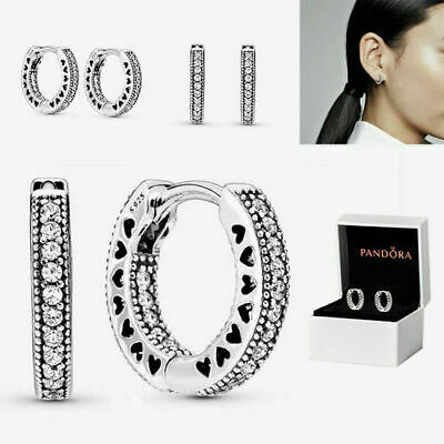 AU24.99 • Buy Pandora Genuine Sterling Silver Signature Hoop Earrings S925 ALE Gift Box NEW