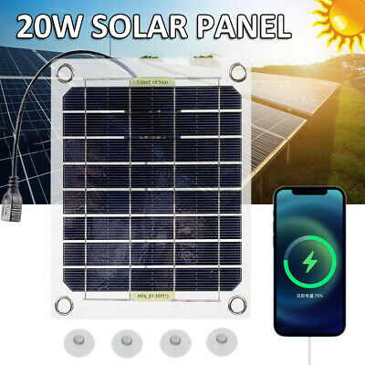 £8.99 • Buy 20W Solar Panel Folding Power Bank Outdoor Camping USB Charger Waterproof Hiking