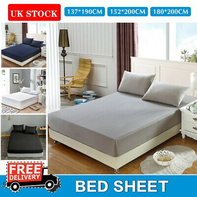 £6.99 • Buy Extra Deep Elastic Fitted Sheet Bed Sheets For Mattress Single Double King Size