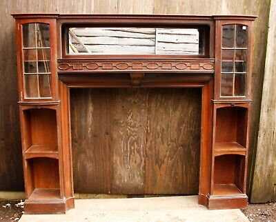 £450 • Buy Large Mahogany Fire Surround With Mirror And Side Cabinets