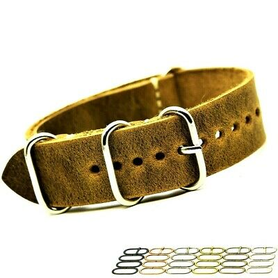 £12.99 • Buy Genuine Leather Strap Military Style Replacement Watch Band 18 20 22 24 26 Mm