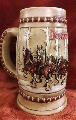 $ CDN111.96 • Buy Vintage 1981 Budweiser Holiday Beer Stein Clydesdales Snow Covered Birch Trees