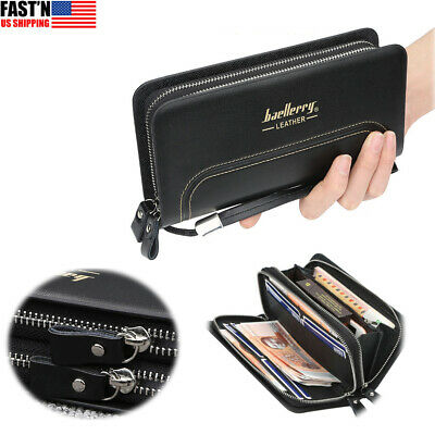 $15.99 • Buy Mens Leather Wallet Long Card Purse Checkbook Clutch Phone Money Bag With Zipper