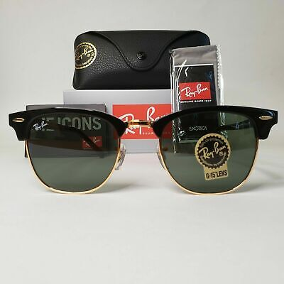 AU83.86 • Buy RAY-BAN Classic CLUBMASTER Black 51 Mm Sunglasses G-15 Green Lens RB3016