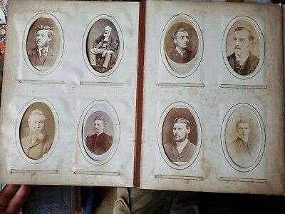 VICTORIAN LEATHER CDV & CABINET PHOTO ALBUM. 152 ORIGINAL PHOTOS. 1870s-1890s • 14.50£