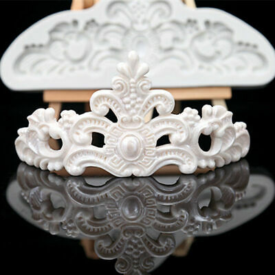 £4.59 • Buy Vintage Relief Baroque Crown Silicone Fondant Cake Mold Chocolate Icing Mould