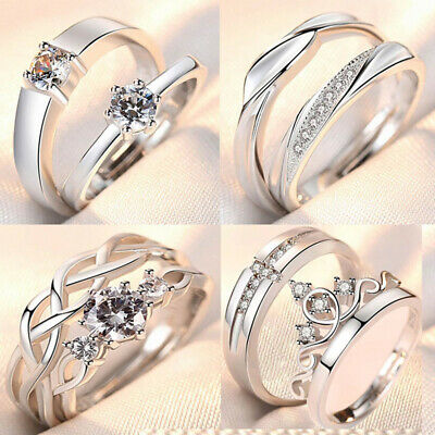 £4.99 • Buy Genuine 925 Sterling Silver Couple Rings Promise Matching Engagement Lover Rings