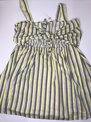 AU19.95 • Buy Asos Dress Size 16 Grey And Yellow Stripe With Tie Up Front