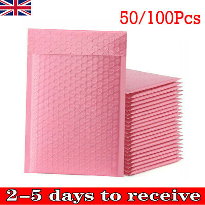 £7.99 • Buy 50/100Pcs Padded Bubble Envelopes Lined Poly Mailer Seal Bags 15x20cm Pink UK