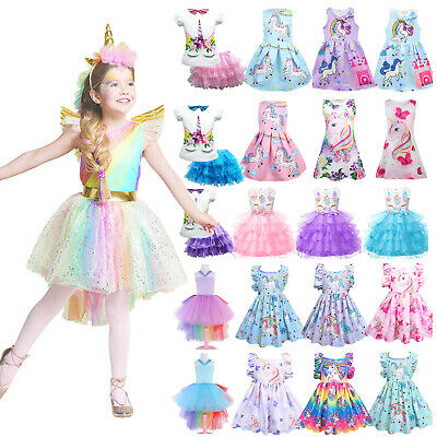 AU28.49 • Buy Kids Girls Unicorn Dress Costume Cosplay Party Outfit Fancy Princess Cute Skirts