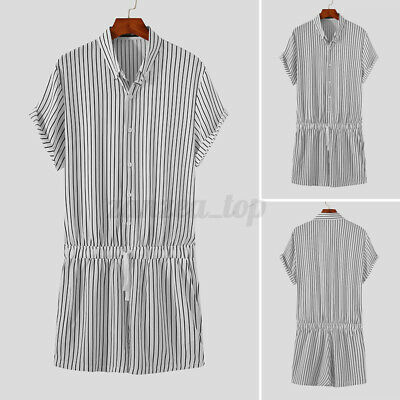 $16.67 • Buy Fashion Mens Striped Jumpsuit Rompers Shorts Short Sleeve Casual Slim Playsuits
