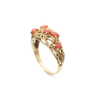 £295 • Buy Vintage 9ct Gold & Precious Red Coral Cabochons Ring Hallmarked 1977 Size P1/2