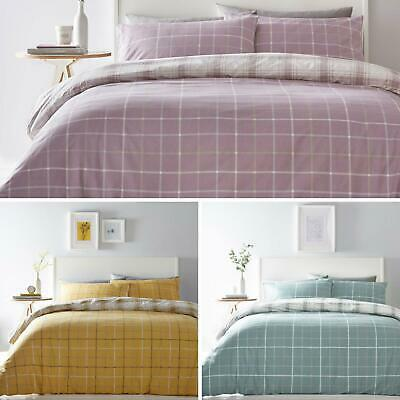 £12.95 • Buy Tartan Duvet Covers Checked Print Reversible Easy Care Quilt Cover Bedding Sets