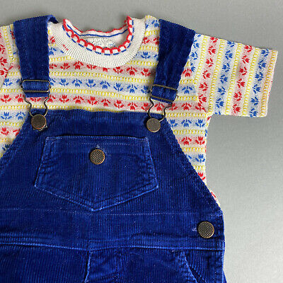 AU30.61 • Buy Vintage 70s Baby Girl 18M Navy Blue Corduroy Overalls & Printed T-Shirt Outfit