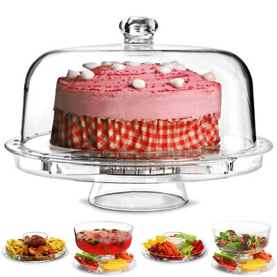 £12.95 • Buy 5 In 1 Cake Stand Cupcake Muffin Macaron Display Serving Plate Dome Cover Lid UK