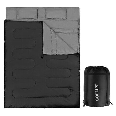 £55.99 • Buy 2 IN 1 Double Sleeping Bag Extra Large Waterproof Carrying Bag Camping 220X150CM