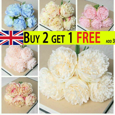 £5.79 • Buy 5 Heads Artificial Silk Fake Large Peony Flowers Hydrangea Wedding Party Decor~~