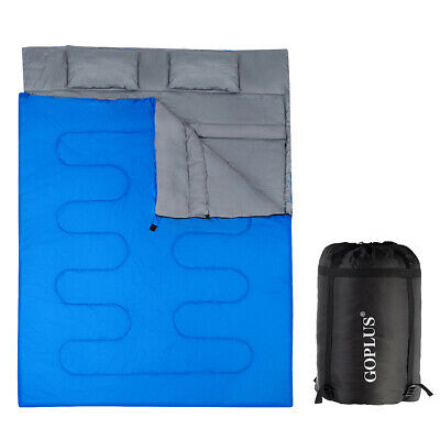 £44.99 • Buy 2 IN 1 Double Sleeping Bag Extra Large Waterproof Carrying Bag Camping 220X150CM