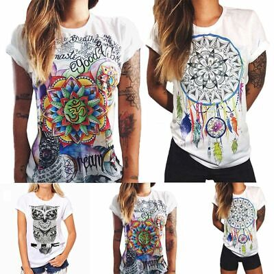 £6.38 • Buy Womens Short Sleeve Floral Casual Tops Summer Beach Ladies Blouse Baggy T Shirts