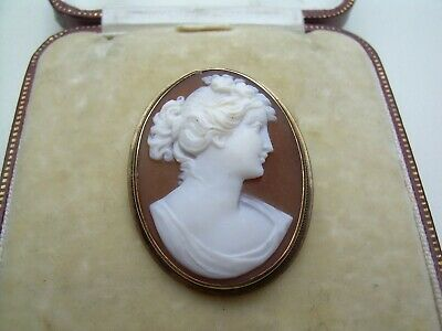 £29 • Buy Antique Edwardian 9ct Gold Carved Natural Shell Cameo Brooch/Pendant.