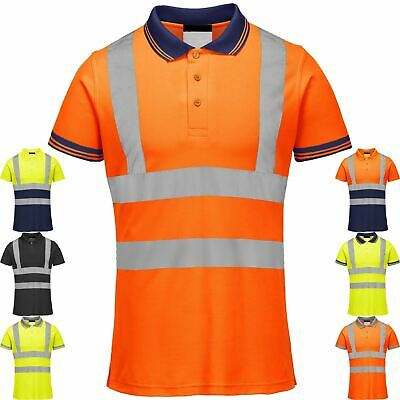 £12.99 • Buy Hi-Viz Visibility Polo T-Shirt Reflective Tape Safety High Vis Security Work Top
