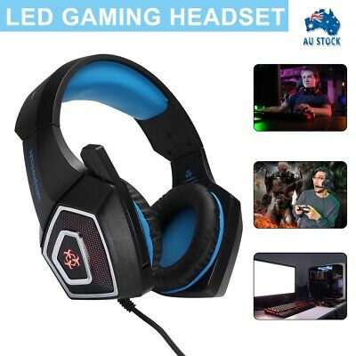 AU22.95 • Buy 3.5mm Gaming Headset MIC LED Headphones Surround For PC Laptop PS4 Xbox One AU