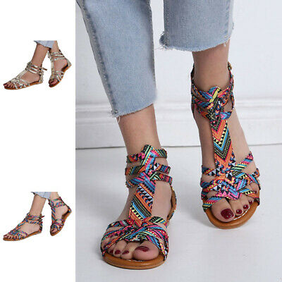 £16.49 • Buy Women Ladies Flats Open Toe Gladiator Sandals Beach Strappy Fashion Casual Shoes