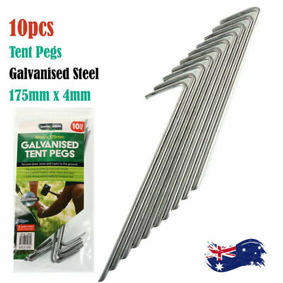 AU13.05 • Buy 10Pcs Tent Pegs Heavy Duty Galvanised Steel Ground Camping Stakes Outdoor Nail