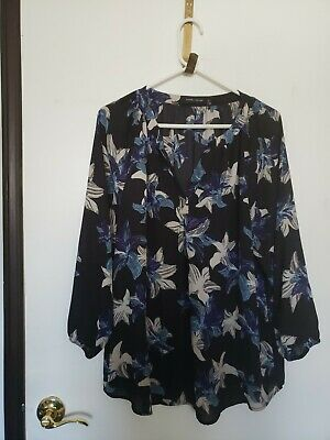 $ CDN21.77 • Buy Ivanka Trump Floral Blouse DISCONTINUED Size XL - Black With Blue/cream Flowers