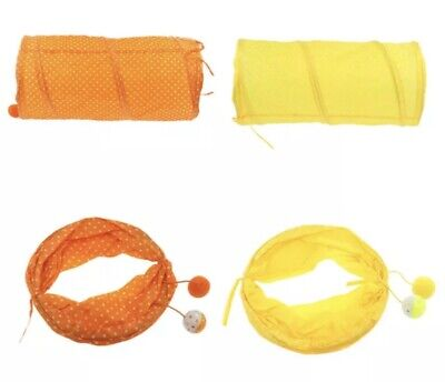 £4.99 • Buy Cat Tunnel Play Hide And Seek Toys Small Animals Rabbit Mouse Toys Yellow
