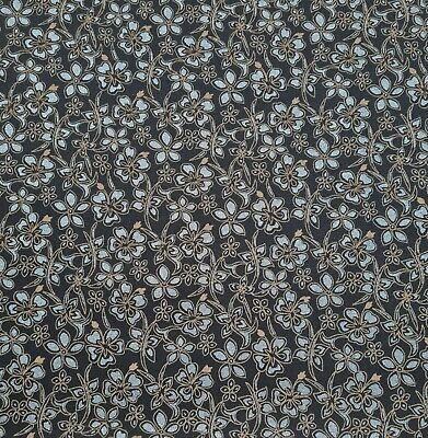 £6.49 • Buy Stretch Twill Fabric Floral Printed 49  Wide 2 Way Stretch Navy Sold By Metre