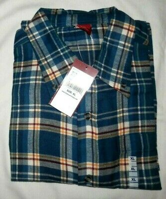 $16.99 • Buy New Junction West Mens Ls Flannel Shirt Navy,cream,wine,gold Plaid Size Xl