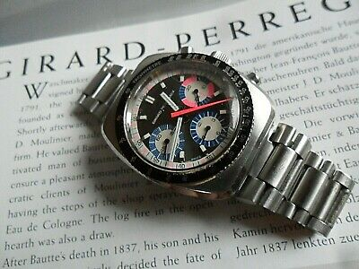 $ CDN1373.65 • Buy Vintage 1970's S/S Girard Perregaux Three Register Chronograph Swiss Watch 9935