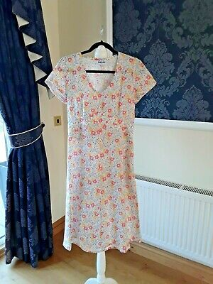 Brora Linen Summer Dress Floral Short Sleeve Dress Size UK 12 • 10£