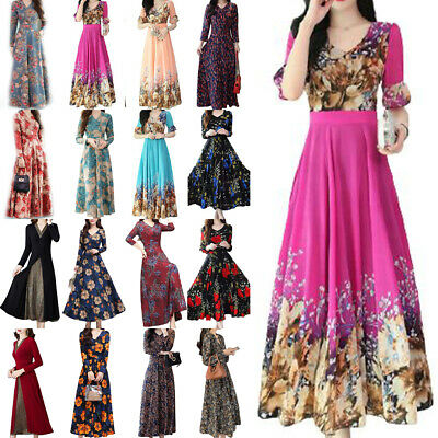 AU24.79 • Buy Women's Retro Boho Floral Swing A-Line Maxi Dress Formal Cocktail Party Dresses