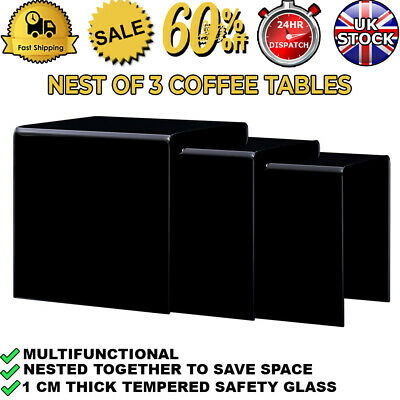Nest Of 3 Coffee Tables Set Unit Glossy Black Tempered Glass Table Top Side End • 179.99£