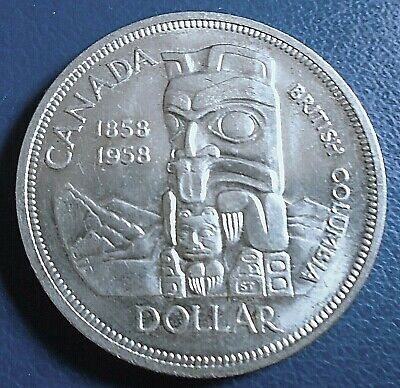 CANADA: 1958 British Columbia Centenary $1 Silver - Top Grade, Some Light Scuffs • 13.50£