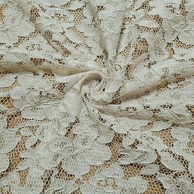 £4.99 • Buy Corded  Lace Fabric Floral Ivory Colour 55  Wide Clothing, Wedding Sold By Metre