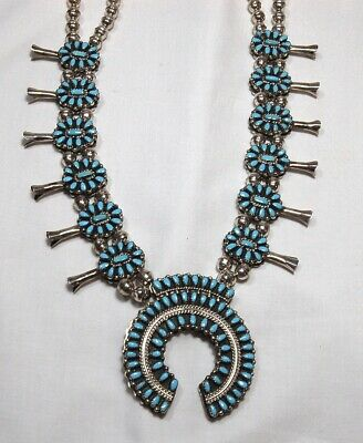 $ CDN1396.73 • Buy Vintage Turquoise & Coral Reversible Squash Blossom Sterling Silver Necklace
