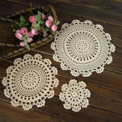 £6.99 • Buy White Vintage Hand Crochet Lace Doily Round Table Mats Flower Tablecloth 13-42cm