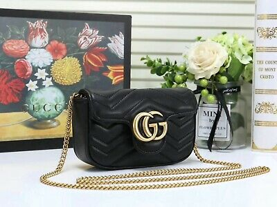 AU376.20 • Buy Gucci GG Leather Shoulder Bag Crossbody Marmont Calfskin Matelasse Small Black
