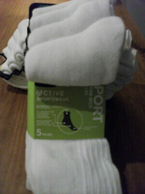 £16 • Buy Ex M & S COOL & FRESH COTTON 10  PAIRS WHITE RIBBED SPORT SOCKS CUSHIONED SOLE